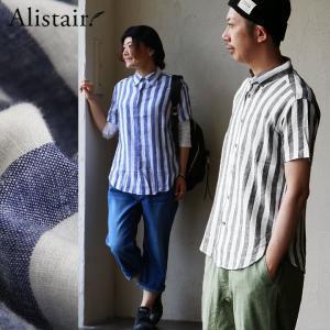 シャツ 半袖 レギュラーカラー ワイド ストライプ 麻 レーヨン  (アリステア) ALISTAIR  40代 50代 paty