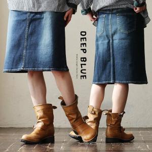 スカート ひざ丈 台形シルエット インディゴ ストレッチ 日本製 国産 デニム ジーンズ (ディープブルー) DEEPBLUE 40代 50代 paty