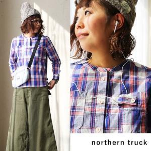 シャツ スタンドネック 長袖 プルオーバー チェック タブ付ポケット  (ノーザントラック) northern truck 40代 50代|paty