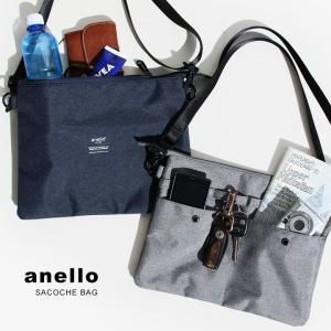 サコッシュ ショルダー バッグ 500ml ペットボトル ストラップ 取り外し 可能 ポーチ カジュアル (アネロ) anello 春 夏 40代 50代
