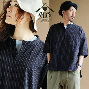 プルオーバーシャツ スキッパー ワイド ドロップショルダー 日本製 レジメント ストライプ (オールズ) OAR'S 40代 50代|paty