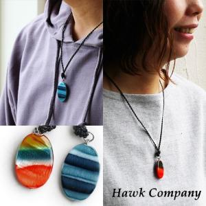 ネックレス グラデーション ボーダー カラー 配色 アクセサリー トップ 革 レザー(ホークカンパニー) HAWK COMPANY 40代 50代|paty