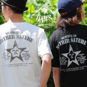 Tシャツ カットソー 半袖 ヘンリーネック  mother nature スター star 星  バック プリント 綿100% OAR'S  レディース メンズ 春夏(予約販売)|paty