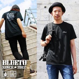 Tシャツ TEE 半袖 クルーネック ダブルフェイス 機能素材 プリント 刺繍 バックプリント (ブルート) BLUETO 40代 50代|paty