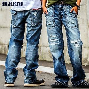 ストレートデニム ジーンズ ヴィンテージ ストレート  ベイカーパンツ  ズボン (ブルート) BLUETO  レディース メンズ|paty