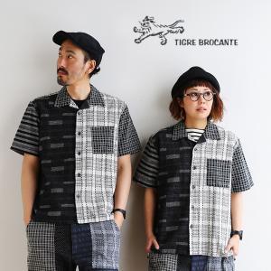 シャツ 半袖 オープンカラー 開襟 刺し子 パッチワーク クレイジーパターン  メンズ レディース TIGRE BROCANTE(シャツ・ポロ割)|paty