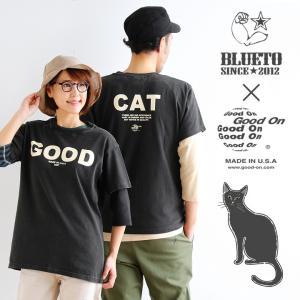Tシャツ 半袖 クルーネック メンズ レディース 丸胴 コラボ 限定 配色 CAT ネコ 黒猫 プリント USAコットン BLUETO×Good On おしゃれ|paty