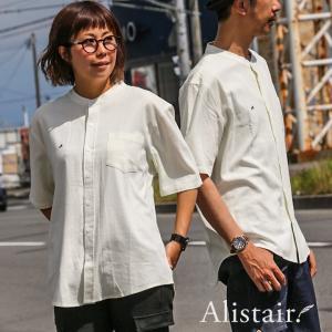 シャツ 半袖 バンドカラー 「吸湿 速乾 麻 レーヨン」 ワンポイント A. 刺繍 薄手 無地 メンズ レディース ALISTAIR 春 夏 40代 50代|paty