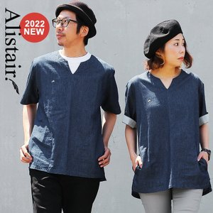シャツ 半袖 カジュアルシャツ キーネック デニム 配色 ワンポイント 刺繍 綿100% メンズ レディース ALISTAIR|paty