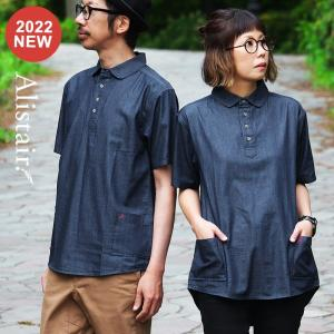 シャツ 半袖 丸襟 プルオーバー デニム 配色 ワンポイント 刺繍 綿100% メンズ レディース ALISTAIR 春 夏 40代 50代|paty