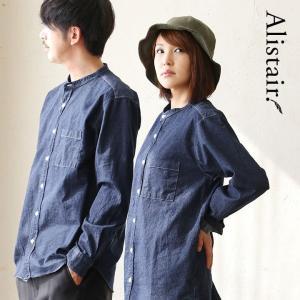 シャツ 長袖 バンドカラー ノーカラー 綿100% ウォッシュド デニム 日本製 ALISTAIR レディース メンズ|paty