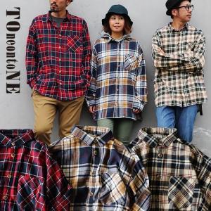 シャツ 長袖 ビッグシルエット 綿100% フランネル チェック柄 チェックシャツ メンズ レディース TOneontoNE|paty