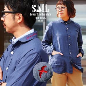 ジャケット シャツ ガーデニングポケット  刺繍 ツバメ ワンポイント 薄手 綿麻 ツイル 日本製 メンズ レディース SAIL|paty