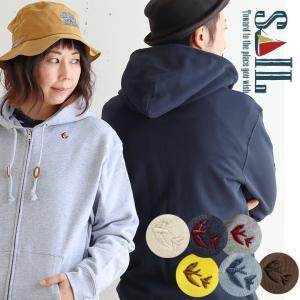パーカー ジップアップ メンズ レディース スウェット 長袖 「フード メッセージ 刺繍 入り」 綿100% SAIL|paty