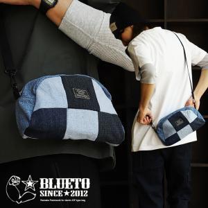 バッグ ミニ ショルダー 半円型 『リメイク パッチワーク ユーズド デニム』 配色 切り替え ワッペン 綿100% メンズ レディース BLUETO|paty