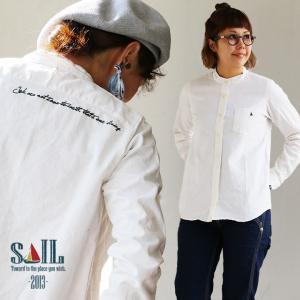 シャツ 長袖 バンドカラー 綿麻 オックス 日本製 「バック メッセージ ワンポイント 刺繍」 無地 レディース|paty