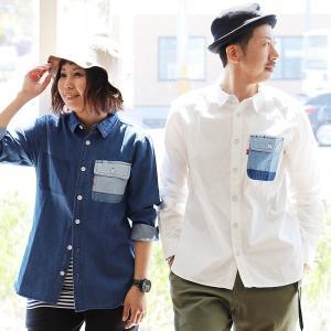 ワークシャツ 胸ポケット パッチワーク レギュラーカラー ワンポイント 長袖 デニム 夏 メンズ レディース grn|paty