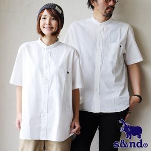 シャツ 半袖 バンドカラー コットン カバ 刺繍 パイピング 夏 涼しい カジュアル  メンズ レディース s&nd|paty