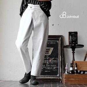 ラップ ジーンズ デニムパンツ パンツ テーパード サルエル 無地 デニム コットン 日本製 ホワイト レディース 春 夏 Johnbull|paty