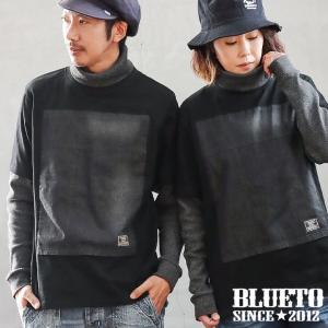 (ブルート) BLUETO  カットソー 長袖 「デニム パッチワーク Tシャツ × ワッフル カットソー」 フェイクレイヤード ドッキング