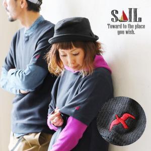 SAIL トレーナー 半袖 クルーネック 配色 ツバメ メッセージ 刺繍 8.4オンス フレンチテリー メンズ レディース(予約販売)|paty