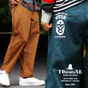 TOneontoNE パンツ テーパード アンクル丈 ワイド チノ 「マスクマン プリント」 メンズ レディース M L LL 3L (予約販売)|paty