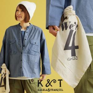 KAKELA&TRANQUIL レイヤードシャツ バンドカラー 刺繍デザイン コットン ワークシャツ...