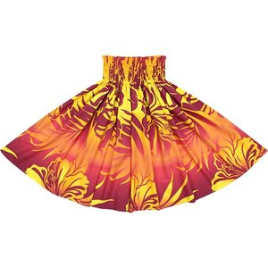 ピンクと黄色のパウスカート ハイビスカス・ヤシ・グラデーション柄 2538PiYW フラダンス 衣装|pauskirt