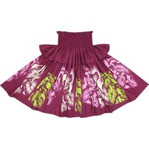 紫のフリルパウスカート タロ柄 Sofrill-2458PP フラダンス 衣装 pauskirt