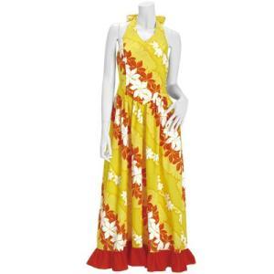 送料無料 フラドレス 既製品 ホルターネック ドレス 黄色系 プルメリア バナナリーフ柄 9号 rmds-41014ds-2419yw|pauskirt