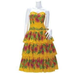 送料無料 フラドレス 既製品 スリーブレス ドレス 黄色系 レフア ピカケ マイレボーダー柄 9号 rmds-41046ds-2411yw|pauskirt
