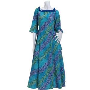 送料無料 フラドレス 既製品 シャーリング ドレス 水色系 マイレ・チューベローズ柄 9号 rmds-41057ds-2470aq|pauskirt