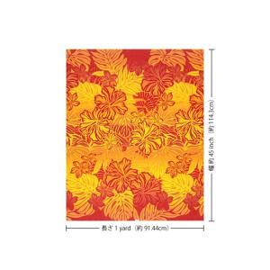 赤のハワイアンファブリック ハイビスカス・プルメリア・モンステラ柄 fab-2621RDYW 【4yまでメール便可】|pauskirt