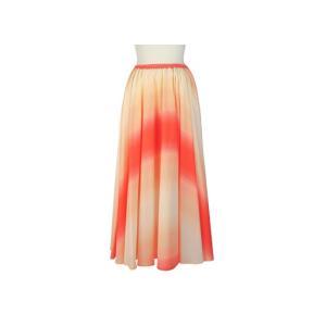 サーキュラースカート クリーム色と赤の グラデーション柄 33007-2270CRRD|pauskirt