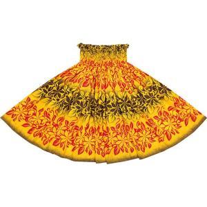 黄色のパウスカート ティアレ・ボーダー柄 2623YW フラダンス 衣装|pauskirt