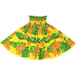 黄色のパウスカート ティアレ・タパ柄 2629YW フラダンス 衣装|pauskirt