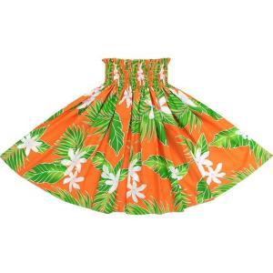オレンジのパウスカート ティアレ・ヤシ柄 2632OR フラダンス 衣装|pauskirt