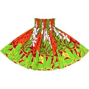 きみどりと赤のパウスカート ティアレ・ラウアエ柄 2640LGRD フラダンス 衣装 pauskirt