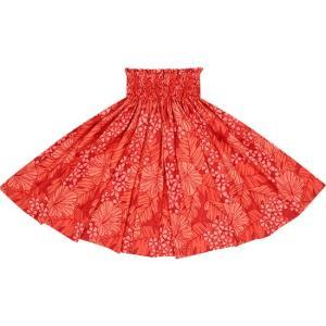 赤のパウスカート ハイビスカス・バナナリーフ柄 2648RD|pauskirt