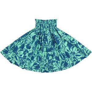 水色のパウスカート ハイビスカス柄 2650AQ フラダンス 衣装|pauskirt