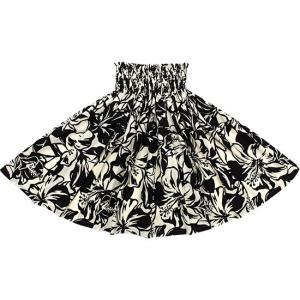 クリーム色と黒のパウスカート ハイビスカス柄 2650CRB...