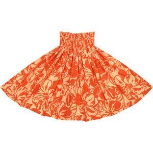 オレンジのパウスカート ハイビスカス柄 2650OR フラダンス 衣装|pauskirt