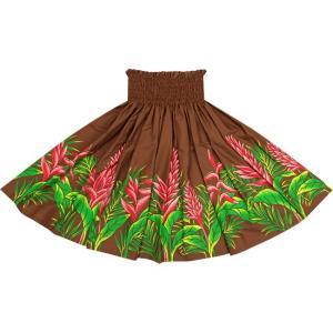 茶色のパウスカート レッドジンジャー・ヘリコニア柄 2654BR フラダンス 衣装|pauskirt