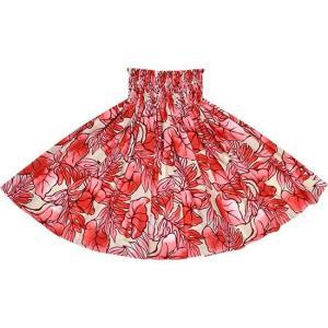 クリーム色と赤のパウスカート タロ・ラウアエ柄 spau-2655CRPi|pauskirt