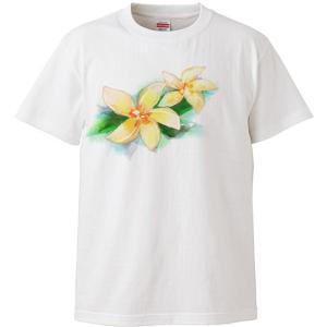 Tシャツ レディース 半袖 白 プルメリア 水彩風 フラダンス【メール便可】 pauskirt