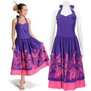 【送料無料】 フラドレス 既製品 ホルターネック ドレス 紫系 プルメリア リーフ柄 5号 rmds 41056ds 2431PP|pauskirt