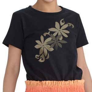 Tシャツ レディース 半袖 黒 斜めティアレ フラダンス【メール便可】 pauskirt