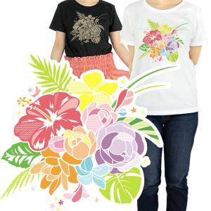 Tシャツ レディース キッズ 半袖 カラバリ ハワイアンブーケ フラダンス【メール便可】 pauskirt
