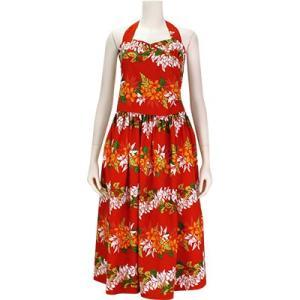 【送料無料】 フラドレス 既製品 ホルターネック シャーリング ドレス 赤系 プルメリアレイ ボーダー柄 9号 rmds 41056ds 2553RD|pauskirt