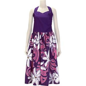 【送料無料】 フラドレス 既製品 ホルターネック シャーリング ドレス 紫系 ティアレ タヒチ柄 9号 rmds 41056ds 2451PPPi|pauskirt